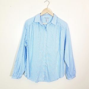 H&M Striped Poof Sleeve Hidden Button Up Blouse
